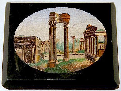 Roman Forum ruins antique micro mosaic glass plaque