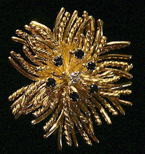 Tiffany and Co. 18K gold sea anemone pendant brooch, diamond/sapphires