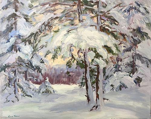 Eric Tobin painting - Snowy Woods, Johnson, Vermont