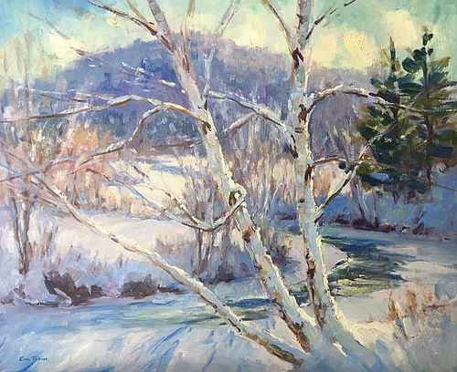 Eric Tobin painting - Snow Covered Birch, Vermont