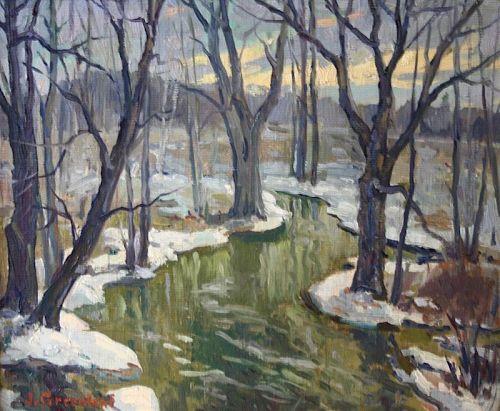 Jacob Greenleaf painting - Woodland Brook
