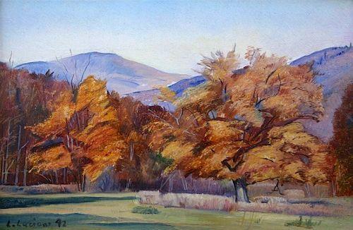 Luigi Lucioni original landscape painting - Autumn Maples in Vermont
