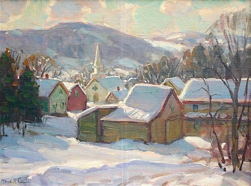 Thomas R. Curtin landscape painting - Village in Winter, Vermont