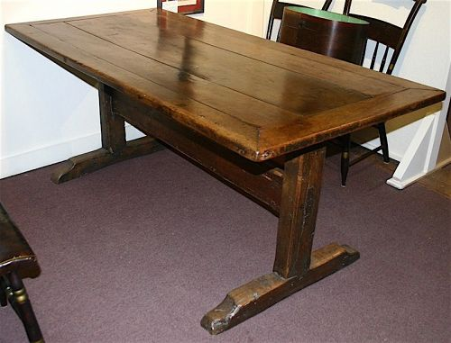 Antique English refectory trestle table, 18th century