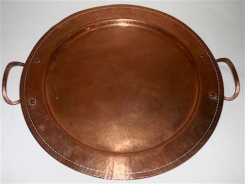Roycroft Arts and Crafts hand hammered copper tray with handles