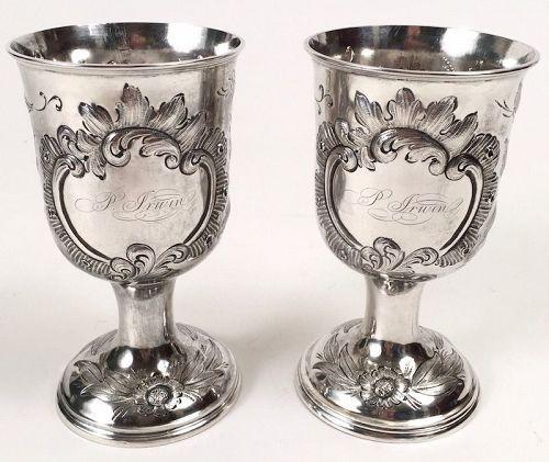 Pair New Orleans coin silver goblets - Christopf Christian Kuchler