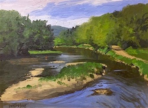 William B. Hoyt painting - Fly fishing in Vermont