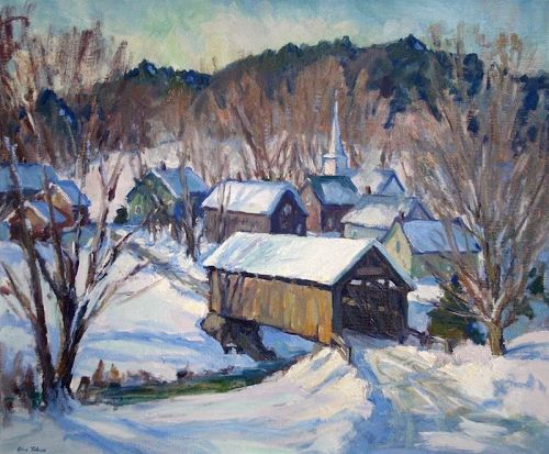 Eric Tobin winter painting - Vermont Village, Westford