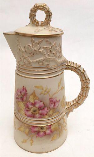 Royal Worcester porcelain chocolate pot