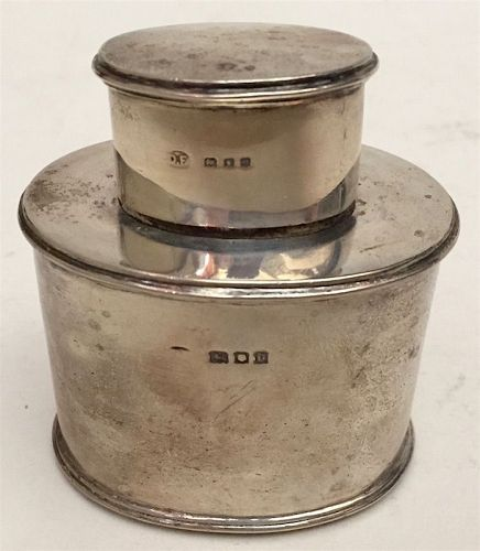 English sterling silver Edwardian tea caddy