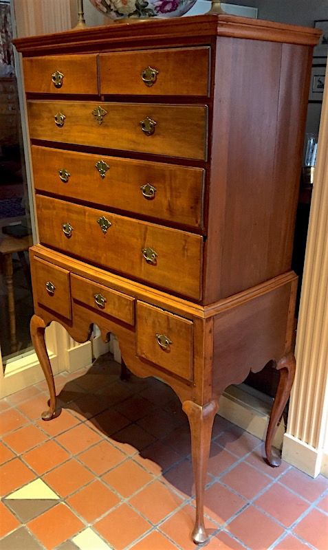New England Queen Anne flat top maple highboy