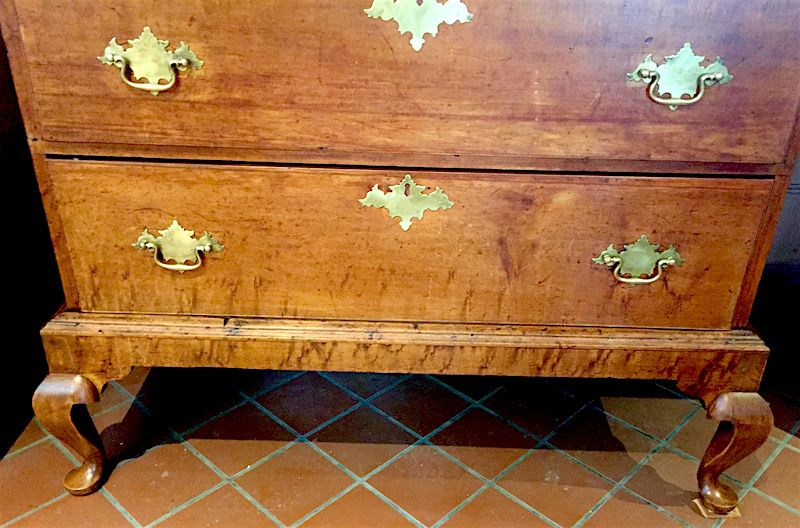 Early American Queen Anne six drawer chest on frame, c.1760
