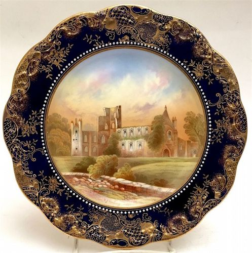 Ansley porcelain cabinet plate, with scene of Kirkstall Abbey