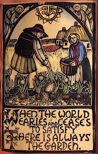 Mary Azarian, VT artist, wood cut print - The Garden