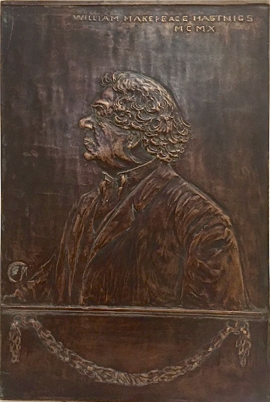 Bronze bas relief portrait plaque of William Makepeace Hastings