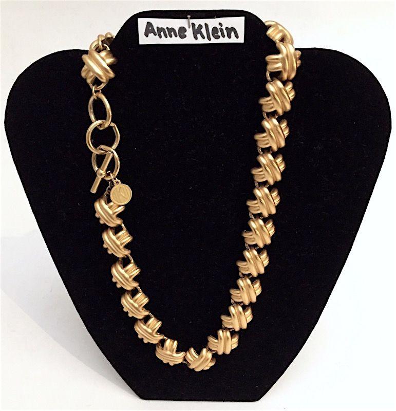 Vintage Anne Klein designer goldtone necklace