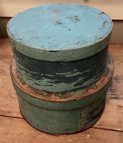 Two antique pantry boxes in old blue paint