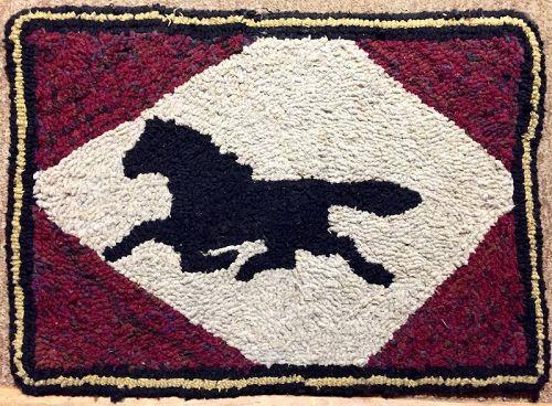 Vintage Trotting hose folk art hooked rug mat