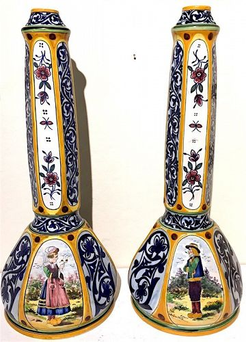 Pair of HB Quimper pottery tall candlesticks or vases