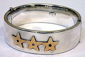 Tiffany sterling silver & gold star bangle bracelet