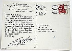 Ansel Adams autograph on post card re Albert Bierstadt