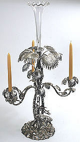 English silver plated centerpiece with palm tree & deer