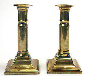 Brass Georgian telescoping candlesticks, English