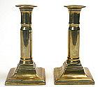 Brass Georgian telescoping candlesticks, English