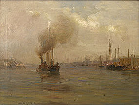 Walter Dean marine painting of harbor with steam ship