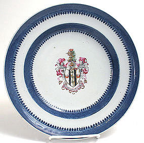 Chinese Export armorial porcelain soup plate, Snodgrass