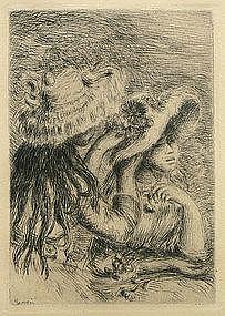 Le Chapeau Epingle etching by Pierre Auguste Renoir
