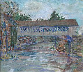 Arthur B. Wilder pastel, Woodstock, VT covered bridge