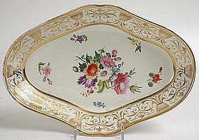 English porcelain floral dessert serving dish, c.1815