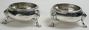 Philadelphia coin silver open salts, R. & W. Wilson