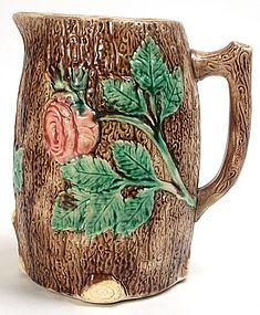 Majolica wild rose and tree bark pitcher, English