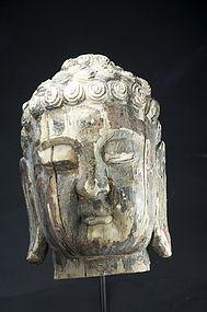Important Head of Buddha, China, 18th C.