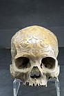 Rare Adorned Human Skull, Borneo Island, Dayak Peoples