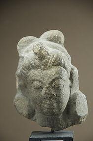 Small Hindu Deity Stone Head, 16th C.