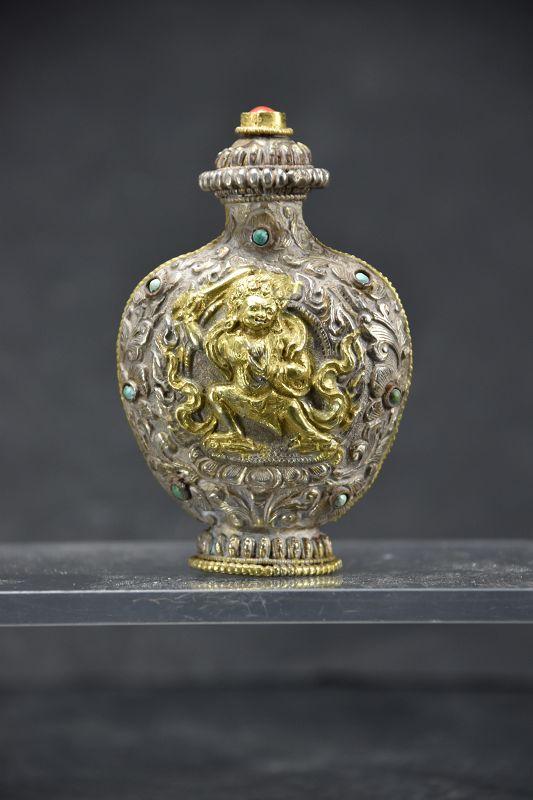 Fine Tibetan Gilt Silver Snuff Bottle