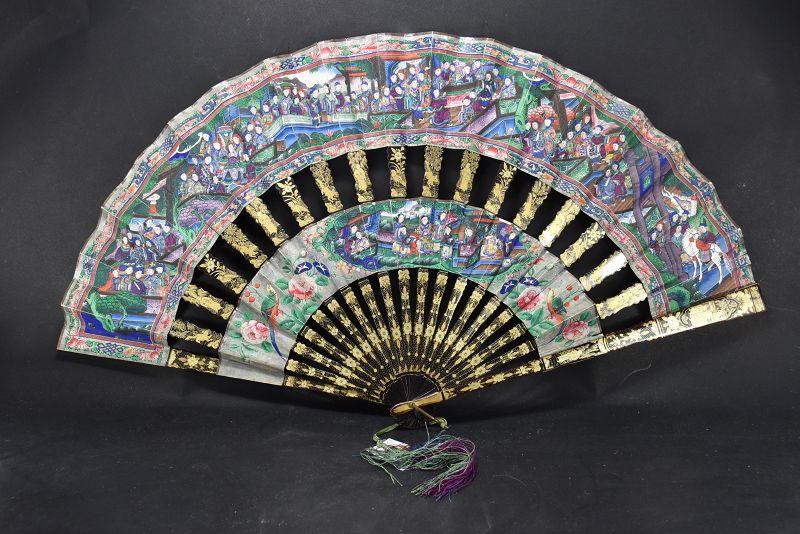 Important Fan, China, Qing Dynasty, 19th C.
