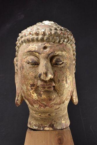 Head of Buddha, China,, Qing Dynasty, 18th C.