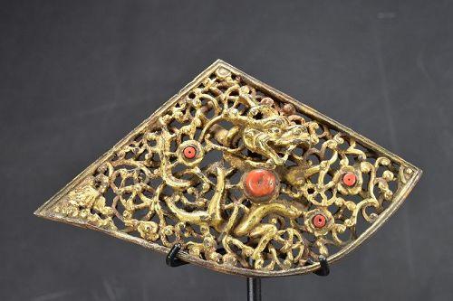 Gilt Iron Dragon Plate, Tibet, 18th Century