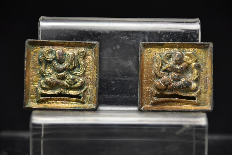 A Pair of Gilt Bronze Appliques, China, Liao Dynasty