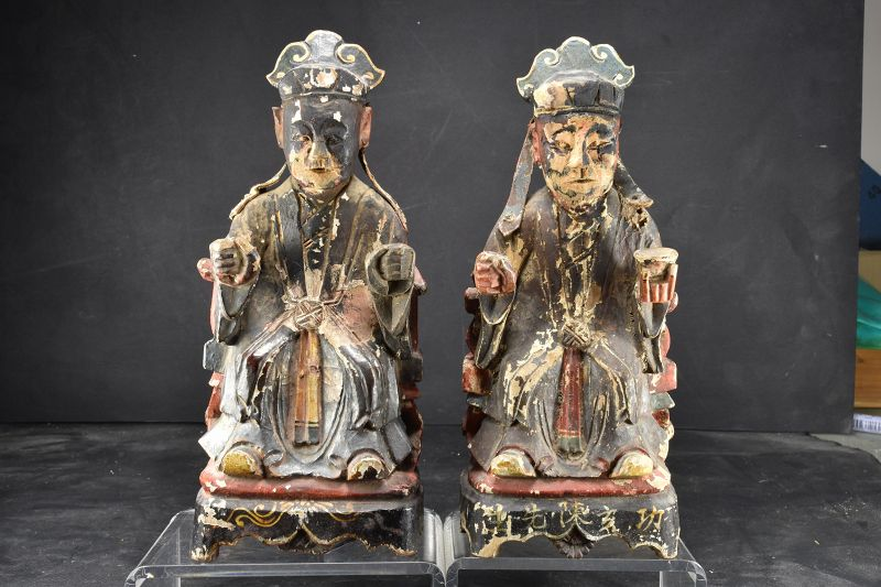 A Pair of Statues of Taoist Deities, Qing Dynasty