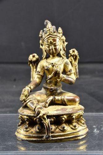 Important Gilt Bronze Statue of Green Tara, Nepal, Ca. 16th C.