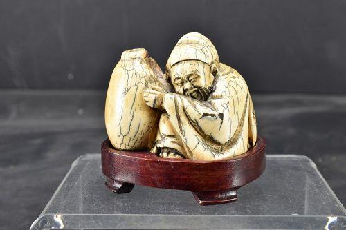 Ivory Statue of Poet Li Bai, China, End of 19th Century
