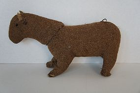 Antique wool fabric primitive toy horse hand sewn 1870