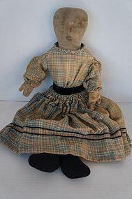 """Pencil face 20"""" antique cloth doll blue plaid dress"""