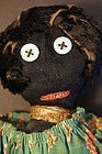 Button eyed black doll great fur hair green calico dress