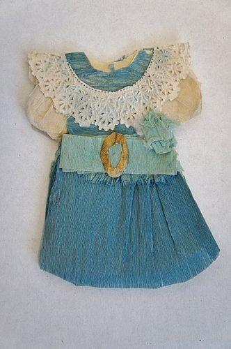 """Antique  blue crepe paper doll dress  3 1/2"""""""